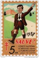Grand Timbre Affiche Anti-tuberculeux Pour  Auto, Vitrine, Voiture 1937. 5 Fr.  Tuberculose Antituberculeux - Erinnofilia