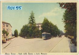 Veneto-padova-abano Terme Viale Delle Terme E Viale Mazzini Veduta Tram In Transito Anni 30/40 - Italia