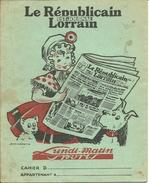 Rare Protège-cahier Le Républicain Lorrain Est Journal Signé Jean Morette - Buvards, Protège-cahiers Illustrés