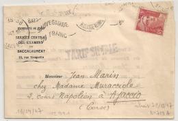 Griffe TARIF SIMPLE, 5F GANDON N° 719A SEUL Le 16-4-47 Sur Lettre. (Timbre Retiré Le 31/03/47). - Postmark Collection (Covers)