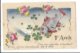 16794 - Poisson En Relief 1er Avril Fleurs Et Trèfles - 1er Avril - Poisson D'avril