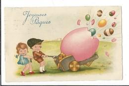 16798 - Joyeuses Pâques  Le Canon à Oeufs Tiré Par Enfants Cachet La Chaux De Fonds 1930 - Pâques