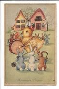 16802 - Heureuses Pâques Poussin Orchestre écouté Par Des Lapins - Pâques