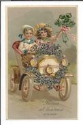 16803 - Bonne Et Heureuse Année Voiture Fleurie Et Couuple Apportant Le Bonheur Carte En Relief MSIB 14796 - Nouvel An