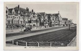 (RECTO / VERSO) LE TOUQUET PARIS PLAGE EN 1934 - N° 253 - LA DIGUE ET VILLAS AVEC VIEILLE VOITURE - CPA VOYAGEE - Le Touquet