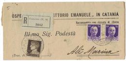 VE85     REGNO 1937 PIEGO RACC. DA CATANIA (N.9) AD ALI' MARINA - 1900-44 Vittorio Emanuele III