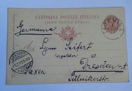 1899 INTERO POSTALE X ESTERO IMPERO TEDESCO DA TAORMINA A DRESDEN  (353) - 1878-00 Humbert I