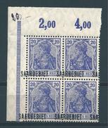 Saar MiNr. 35 ** Bogenecke - Aufdruck Extrem Verschoben    (bb15) - 1920-35 Saargebied -onder Volkenbond