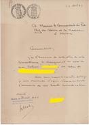 """FISCAUX DE MONACO PAPIER TIMBRE à 4 F Par 2 """"blason""""  2Fr Sur Document Du 22 Avril 1945 Filigrane LOUIS II - Fiscaux"""