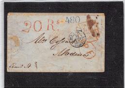 1853.- CARTA DE LONDRES A MADEIRA. ENTRADA MARÍTIMA FRANCESA. MARCAS DE TASA 20RS DE ESPAÑA Y 480 EN AZUL DE PORTUGAL - Madeira
