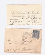 1894 LA ROCHELLE   Colonel LE JOINDRE   AU 123° RGT INF.  Carte+lettre   Superbe  Voir 2 Scans - Visiting Cards