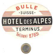 ETIQUETA DE HOTEL  -  HOTEL DES ALPES TERMINUS   -BULLE - SUIZA (SUISSE)  (CON CHARNELA ) - Hotel Labels