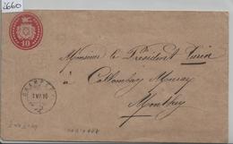 1876 Tüblibrief 10 Rp. Von Champery Nach Monthey 1.VII.76 - Ganzsachen