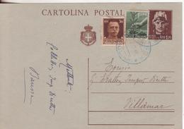 1-Tripla-Mista-Luogotenenza-Regno-Democratica-1,20L.+30c.+1L.-da Cagliari  X Villamar-Marmilla-Sud Sardegna - Storia Postale