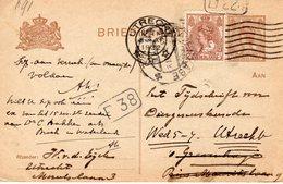 1922 Bk G191  Van Utrecht Naar Den Haag En Met Bijfrankering Retour - Postal Stationery