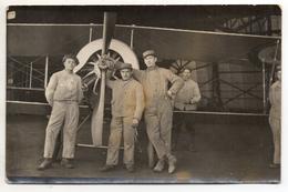 Carte-photo - Mécaniciens Soldats De L'aviation - WW1 Avion Biplan - 1916 - Guerre 1914-18
