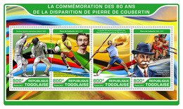 TOGO 2017 - P. De Coubertin, Fencing At 1896 Olympics. Official Issue.