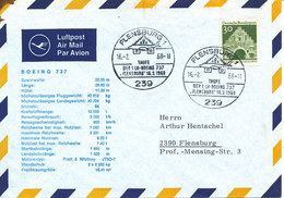 Germany Air Mail Cover TAUFE Der 1. LH-Boeing 737 FLENSBURG 16-2-1968 - [7] Federal Republic