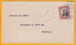 1913 - Enveloppe De Talca, Chili Vers Bordeaux, France - Par La Voie Des Andes - T 20 C Seul - Cad Arrivée - Chili