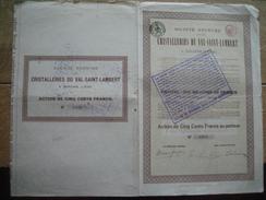 SERAING 1920 - CRISTALLERIES DU VAL SAINT-LAMBERT - Fabrication De Cristaux & Gobeleteries - ACTION DE CINQ CENTS FRANCS - Actions & Titres