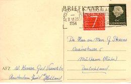 1954 Bk G313 Bijgefrankeerd Van Amsterdam Naar Mülheim - Postal Stationery