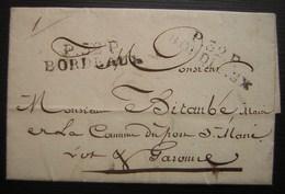 1826 Port Payé De Bordeaux Sur Lettre Du Commissaire De Police De Bordeaux Au Maire De Port Sainte Marie (marie Douezan) - Postmark Collection (Covers)