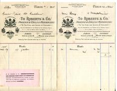 TO ROBERTS & CO FOREINGN & ENGLISH PHARMACIENS.PARIS.LONDRES.2 FACTURETTES. - Droguerie & Parfumerie
