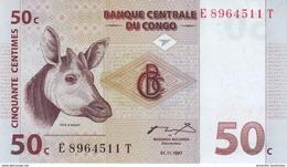 CONGO DEMOCRATIC REPUBLIC 50 CENTIMES 1997 P-84A UNC [CD305b] - Congo