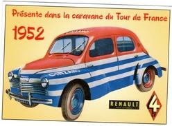 Véhicule Renault 4CV Publicité Cinzano  -  Tour De France 1952   -  CPM - Passenger Cars
