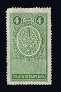 POLEN Poland Stempelmarke Documentary Tax 4 MH - Fiscali