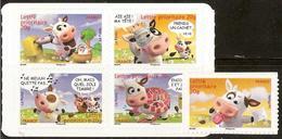 France - YT AA134 à 138 - Sourires Avec Les Vaches Humoristiques Du Dessinateur Alexis Nesmes (2007) - Francia