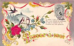 CPA Fantaisie - Rose Textile Tissu Myosotis Trèfle à Quatre 4 Feuilles Porte Bonheur Art Nouveau - Carte Gaufrée - Flowers