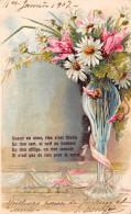CPA Fantaisie - Bouquet Fleurs Marguerite Vase 1907 - Carte Gaufrée - Flowers