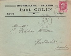 Enveloppe Commerciale  1942 / Just COLIN / Bourrellerie Sellerie / Cachet De Nods / 25  Doubs - Cartes