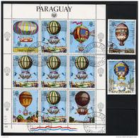 PARAGUAY 1983, MONTGOLFIERES, Feuillet De 5 Valeurs + 2 Valeurs, Oblitérés / Used. R927Flt - Airships