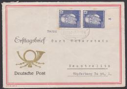 Friedrich Ludwig Jahn Turnvater Auf Briefvorderseite Mit Bahnpostst. Marke Fleckig, Mit Unterrand - DDR