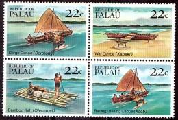 PALAU - 1985 - N° 65 à 68 En Bloc - Neufs ** - Embarcations Locales : Canoë, Radeau ... - Palau