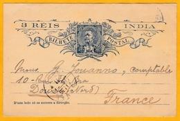 1911 - Inde Portugaise - Entier Postal CP 3 Reis De Goa Vers Douai, France - Cachet à Date D' Arrivée - Inde Portugaise