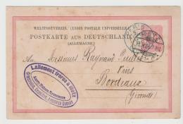 Pfg246 / Offizielle Ganzsache Mit Rückseitigem Firmenzudruck. Von Metz Nach Bordeauz 1888 - Entiers Postaux
