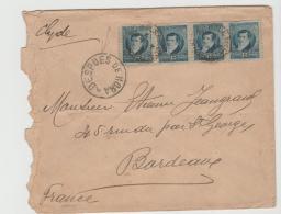 Arg005 / ARGENTINIEN -  Belgrano Im 4-er Streifen 1896 (despues De La Hora)  Nach Frankreich - Argentinien