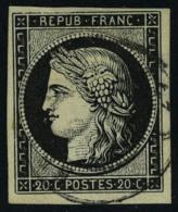 oblitéré N° 3, 20c noir obl cachet à date T.B. signé