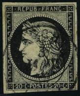oblitéré N° 3, 20c noir sur blanc obl cad 3 janv 49, T.B.
