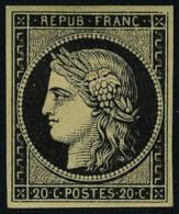 neuf avec charnière N° 3, 20c noir sur jaune T.B. signé Brun
