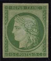 neuf avec charnière N° 2e, 15c vert vif clair, réimpression T.B.