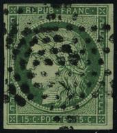 oblitéré N° 2c, 15c vert très foncé T.B. signé Brun