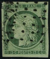 oblitéré N° 2b, 15c vert foncé obl gros points, grandes marges, superbe, signé Brun