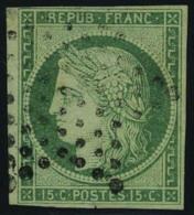 oblitéré N° 2, 15c vert T.B. signé Brun, infime encoche dans la marge
