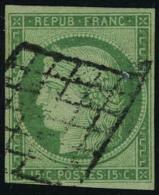 oblitéré N° 2, 15c vert obl sur grille T.B. signé Brun