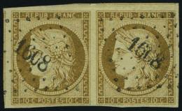 oblitéré N° 1a, 10c bistre brun, paire horizontale, superbe, signé Calves
