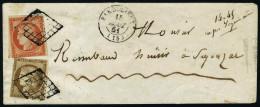 lettre N° 1+5, Lettre affranchie à 10 + 40, obl. grille,  CàD 15 août 51, Barbezieux pour ...